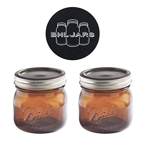 Ball Mason Jars 16 oz Wide Mouth Amber Colored Glass Bundle with Non Slip Jar Opener- Set of 2 Pint Size Mason Jars - Canning Glass Jars with Lids