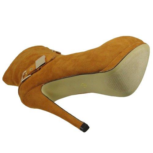Bottines Femmes Sexy Double Plate-forme Boucle Haut Talon Chaussures Daim Beige