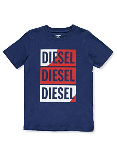 Diesel Boys' Big Short Sleeve T-Shirt, Boxed Art Estate Blue, L
