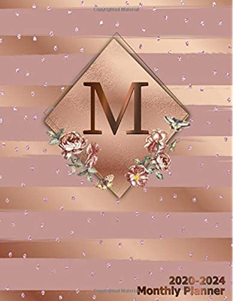 M 2020 2024 Monthly Planner Initial Monogram Letter M Five Year Organizer With 60 Months Spread View Trendy 5 Year Calendar Journal Agenda Notebook Glossy Rose Gold Metallic Floral Monthly