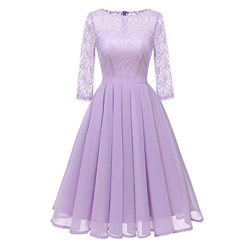 (Women Dresses Vintage Scoop Neck Floral Lace 3/4 Sleeve Pleated Wing Cocktail Dress (L, Purple))