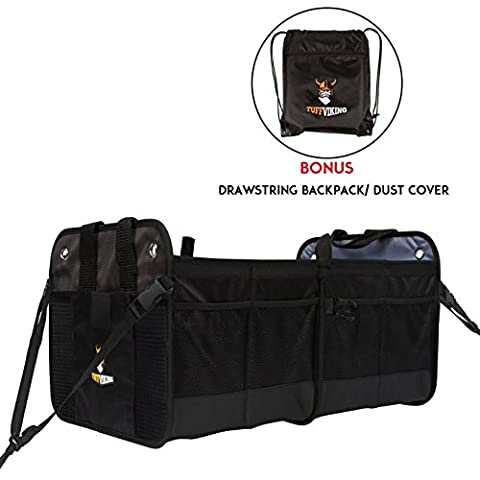 [NEW w/ Straps] Car Trunk Storage Organizer with Straps by Tuff Viking with 11 Extra Pockets, Removable Divider, Expandable side pockets, Collapsible,and Waterproof (Sub Cargo Organizer)