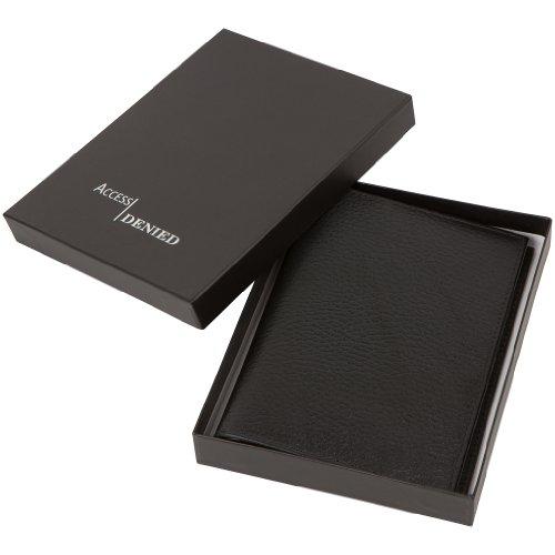 Access Denied Mens RFID Blocking Genuine Leather Passport Holder Wallet (Black)