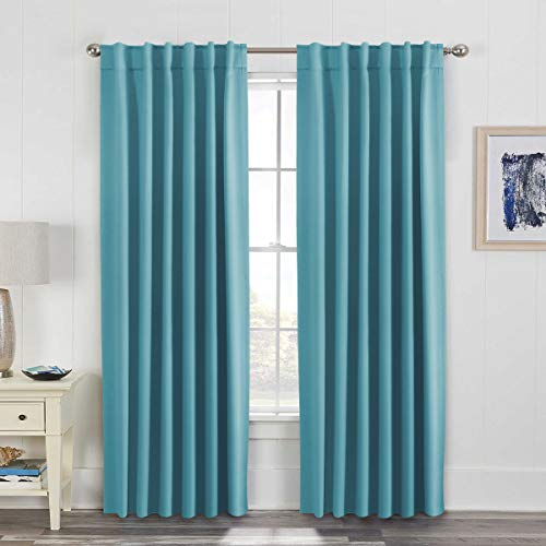 H.VERSAILTEX Blackout Curtains, Back Tab/Rod Pocket Thermal Insulated 2 Panels Drapes, Aqua Color, 52x84 Inch, 7 Back Loops Each Panel