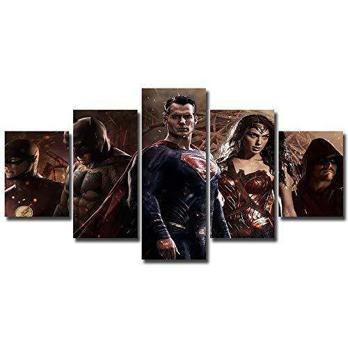 5 panels Batman vs Superman Canvas Art barry allen bruce wayne clark kent Dawn of Justice dc comics green arrow oliver queen princess diana the flash Wonder Woman Wall Multi Piece Print Home Decor