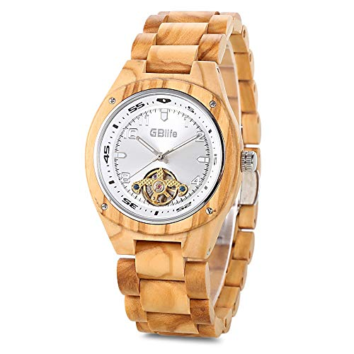 Mens Wooden Mechanical Watch, GBlife Self Winding Natural Handmade Casual Wood Wristwatches with Luminous Pointers, Adjustable Wood Band, Big White Dial
