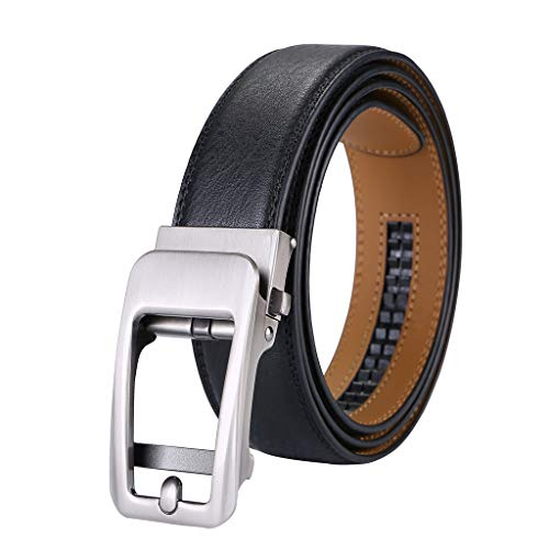 Men's Real Leather Belt,Alloy Automatic Buckle Two Layer Leather Casual Business Belt Men Casual Business Belt (A) ()