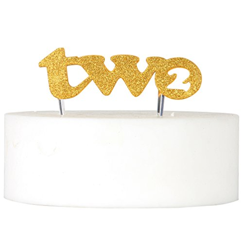 2nd Two Birthday Cake Topper Gold Double Sided Glitter Stock Cake Decoration