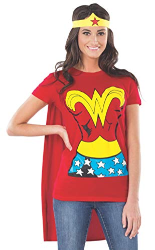 Easy Halloween Costumes For Office Party (DC Comics Wonder Woman T-Shirt With Cape And Headband, Red, Medium)