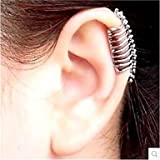 Pantapbuy @Punk Skull Spine Without Hole Silver Ear Cuffs (1 Pcs)