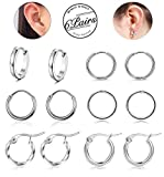 Besteel 6 Pairs Stainless Steel Hoop Huggie Earrings for Women Men Cartilage Earring Set