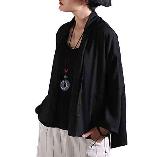 女性のロングスリーブオープンフロントヴィンテージソリッドカラーカーディガンポケット付き