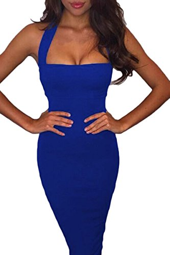 Prograce Hlater Off Shoulder Midi Length Party Club Bandage Dresses for Woman Blue Medium (Dresses For Women Blue Cocktail)
