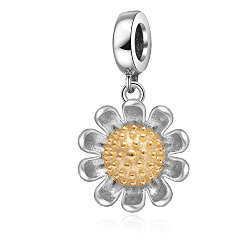 Hoobeads Sunflower Charms Pendant Authentic 925 Sterling Silver Flower Charm for European Bracelet (Gold)