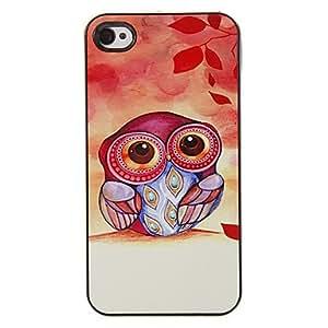 HP-Owl reina en Patrón de arce PC caso duro con 3 Almuerzos Protectores HD de pantalla para iPhone 4/4S