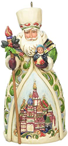 - Jim Shore Heartwood Creek Russian Santa Stone Resin Hanging Ornament, 4.75