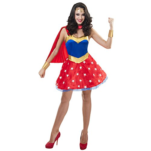 LEEGEEL Woman Costume Adult Super Dress with Underskirt, Cape, Cuffs, Headpiece for Halloween, Party