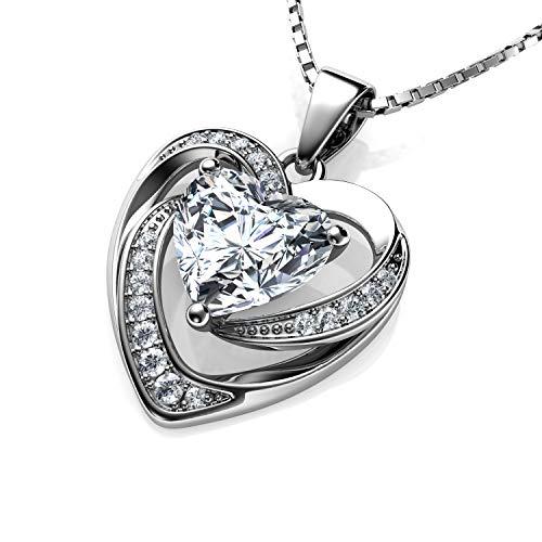DEPHINI--Collier-en-argent-sterling-925-avec-pendentif-en-forme-de-cur-blanc-en-oxyde-de-zirconium--Chane-de-457-cm-en-argent-plaqu-rhodium--Oxyde-de-zirconium--Cadeau-pour-femme