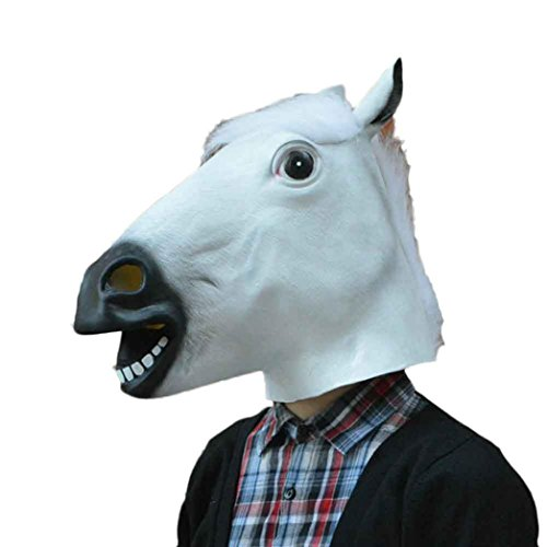 Funny Head Mask,Novelty Halloween Costume Party Mask Halloween Animal Head Mask Horse Latex Mask (White, One size) ()