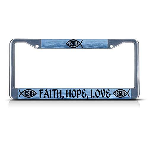 Faith, Hope, Love Religious Christ Heavy Duty Metal License Plate Frame Tag Perfect for Men Women Car garadge Decor