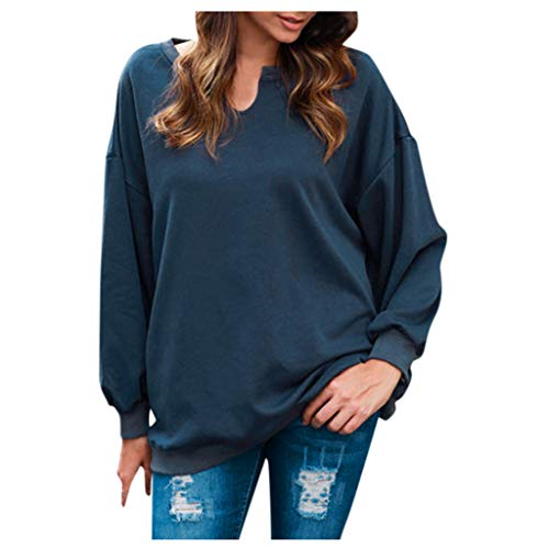 [해외]Meikosks Ladies Casual Sweatshirt Solid Color Blouses Long Sleeve Tops Loose Pullover / Meikosks Ladies Casual Sweatshirt Solid Color Blouses Long Sleeve Tops Loose Pullover Navy