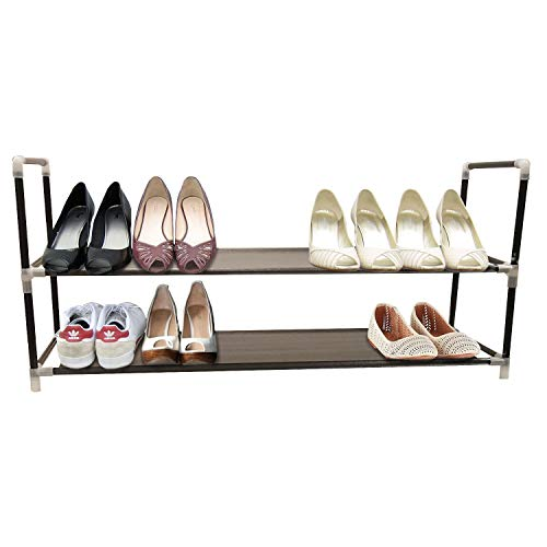 2-Tier Shoe Rack Color Black Organizer Storage Bench Stand for Mens Womens Shoes Closet with unwoven Fabric Shelves & Holds 10 Pairs.Hot Shoe Racks with unwoven Fabric Shelf & Easy Assembly no Tools ()