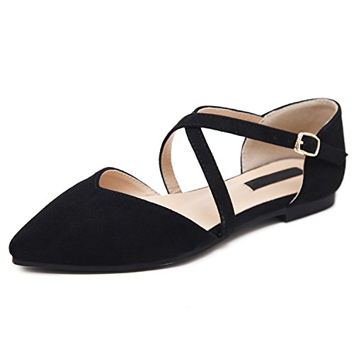 Flock Flat Shoes Shallow 2018 Platform Flat Spring Shoes Elegant Women 8 Kenavinca for Black Toe Pointed Ballerina Women qwS4FBn1