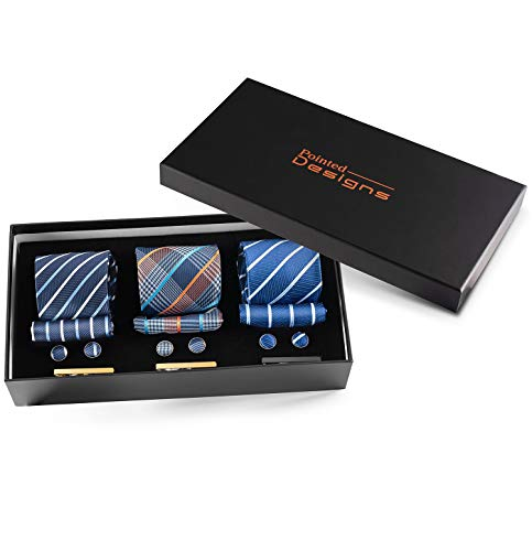 Pointed Designs Ties for Men Set - 3 Neckties in a Gift Box with Matching Cufflinks, Handkerchiefs and Tie Clips