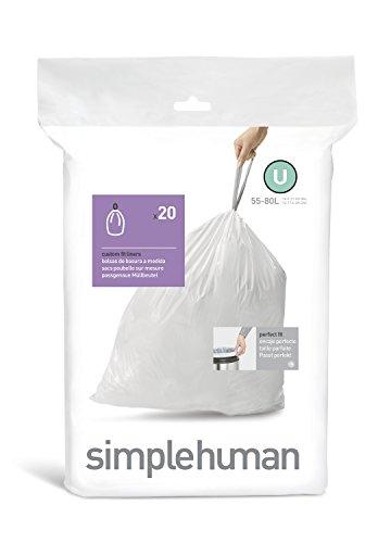 simplehuman code U custom fit liners, 1 refill pack (20 l...