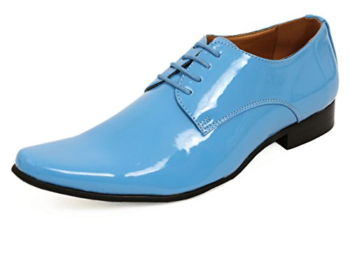 Dobell Mens Baby Blue Tuxedo Shoes Patent Contemporary Style Laced