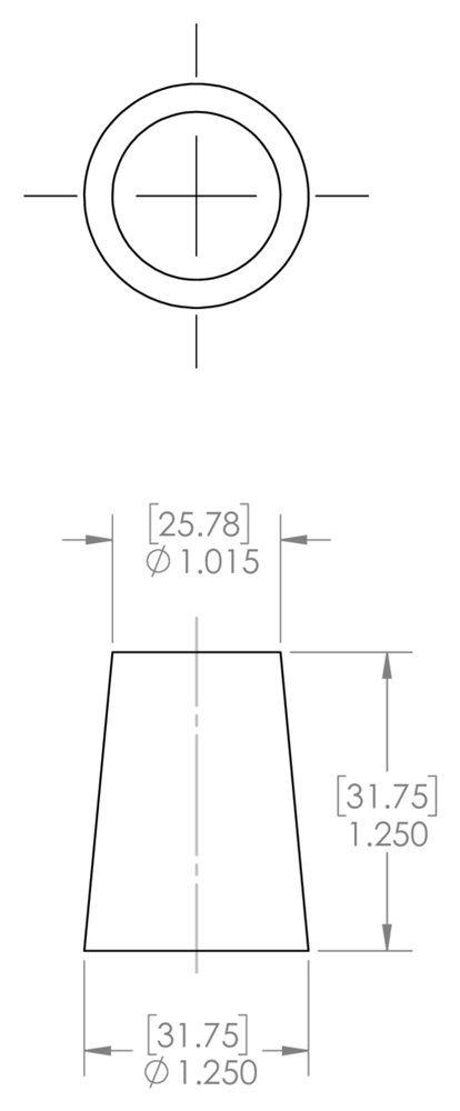Natural to Plug Min 1.015 Max 1.25 Height 1.250 Caplugs Inc. RC14 to Plug Min 1.015 Max 1.25 Height 1.250 Caplugs SH-51047 Masking Regular Cork Plug