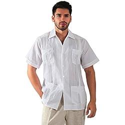 Guayabera yucateca 100% lino irlandes color blanco talla 38 manga corta