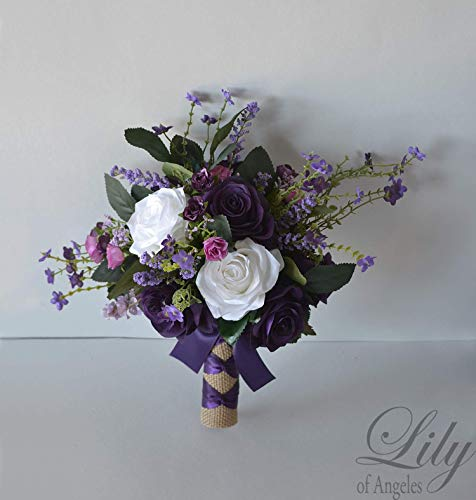 Wedding Bouquet, Bridal Bouquet, Bridesmaid Bouquet, Silk Flower Bouquet, Wedding Flower, purple, plum, lavender, fuchsia, Lily of Angeles