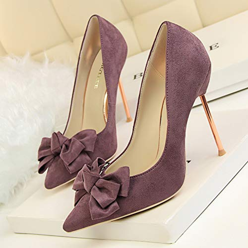 Pointed Pink Shallow 39 Heel Purple Bow Single Yukun Pedicure Shoes Thin Stiletto Suede Sweet heels High Women'S High Mouth Temperament Shoes q0wv1H