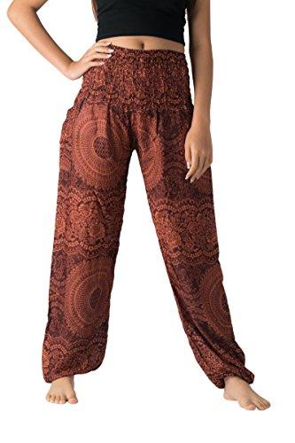 Bangkokpants Plus Size Harem Pants Boho Clothing Hippie Peacock Size US 14-22 (Blossom Orange)