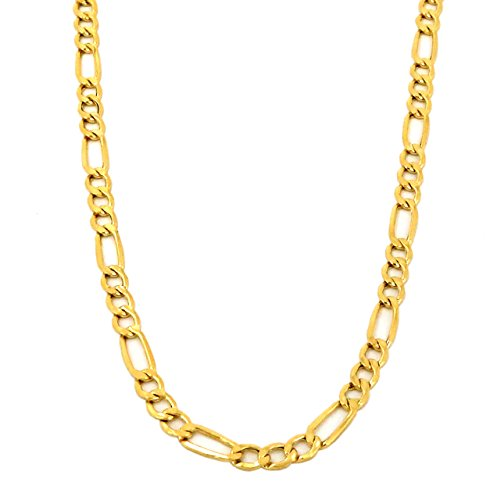 """Real 10K Yellow Gold Hollow Figaro Chain Necklace 16"""" to 24"""", 2.5MM (18)"""