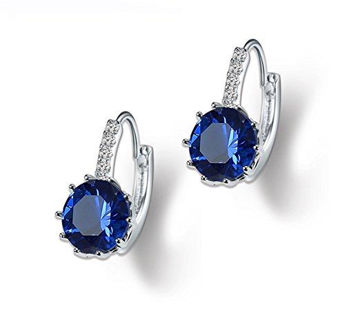 QTALKIE Crystal Jewelry Cubic Zirconia Round Shaped Dangle Hoop Earrings for Women (Navy Blue) ()