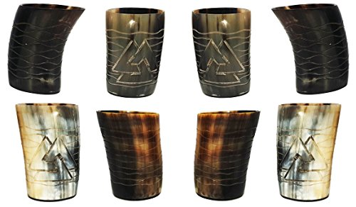Whiskey Shot Glasses Real Horn Mug Cup Ale Beer Wine Glass 8 pieces Set of Handicrafted Natural Horn Glass 4-4.5 inch Polished Hand Engraved Odin with Waves Engraving Ideal for Partys to Serve Drink ()