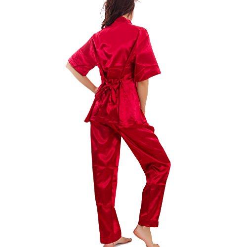 nuovo tre Toocool raso intimo giacca 89 A donna Rosso pantaloni top Pigiama pezzi lingerie 61Awq6v