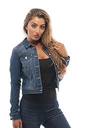 Womens Basic Button Down Denim Jean Jacket (2XL, MediumBlue)