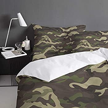 Image of Home and Kitchen All Like Army Green Desert Camo 4 Piece Bedding Set Duvet Cover Set- Queen Size Ultra Soft Microfiber Quilt Cover with Zipper Closure (1 Comforter Cover + 1 Flat Sheet + 2 Pillowcases)- Green Brown
