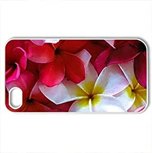 Assorted Plumeria - Case Cover for iPhone 4 and 4s (Flowers Series, Watercolor style, White)