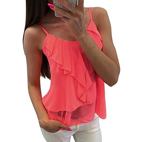 YuhooSUN Tank Tops for Women,Casual Lightweight Camisole Vest Chiffon Sexy Ruffles Solid Crew Neck Shirts Blouse Tunic Pink