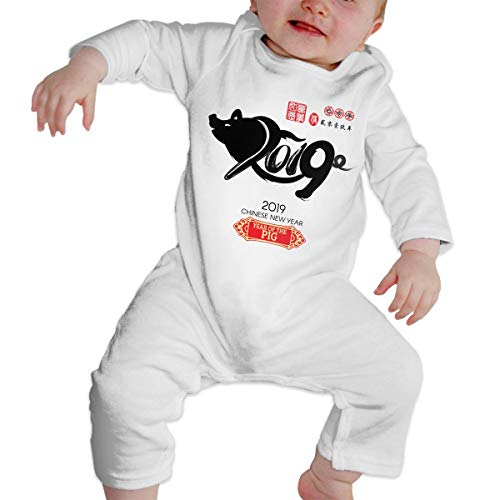 Baby Boy Girl Crew Neck Long Sleeve Solid Color Onesie Chinese Calendar for The Year of Pig 2019 Crawling Suit White 46