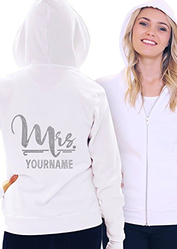 Foxy Mrs. with Custom Last Name Women's Hoodie Medium White by RhinestoneSash