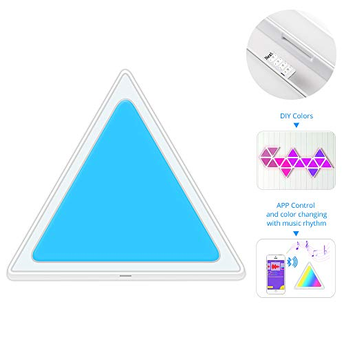 BENEXMART Smart LED Light Panels Multicolor Triangle Panel Bluetooth Android/iOS APP Music Control Kit for Room/Party/Wall Lighting (APP + Music Control, 9 Pieces Panel kit)