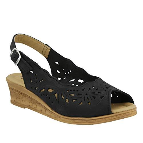 (Spring Step Women's Orella Slingback Sandal,Black Nubuck,41 EU/9.5 - 10 M US)