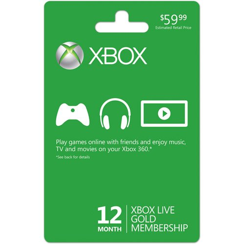 Xbox LIVE 12 Month Gold Membership Card (Gold Membership Xbox Live)