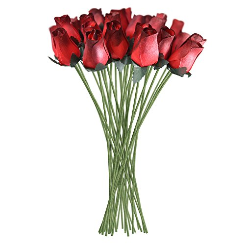 Red Realistic Wooden Roses 32 Count ()
