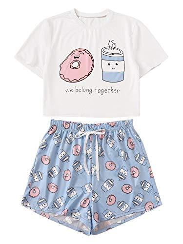 DIDK Women's Cartoon Print Tee and Shorts Pajama Set White and Blue ()
